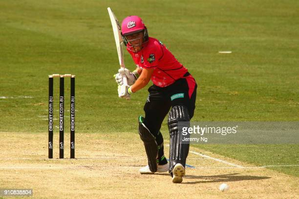 Alyssa Healy of the Sixers hits the ball during the Women's Big Bash League match between the Adelaide Strikers and the Sydney Sixers at Hurstville...