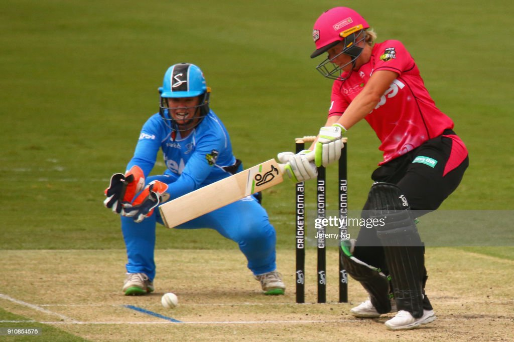 Alyssa Healy of the Sixers plays a cut shot during the Women's Big Bash League match between the Adelaide Strikers and the Sydney Sixers at Hurstville Oval on January 27, 2018 in Sydney, Australia.