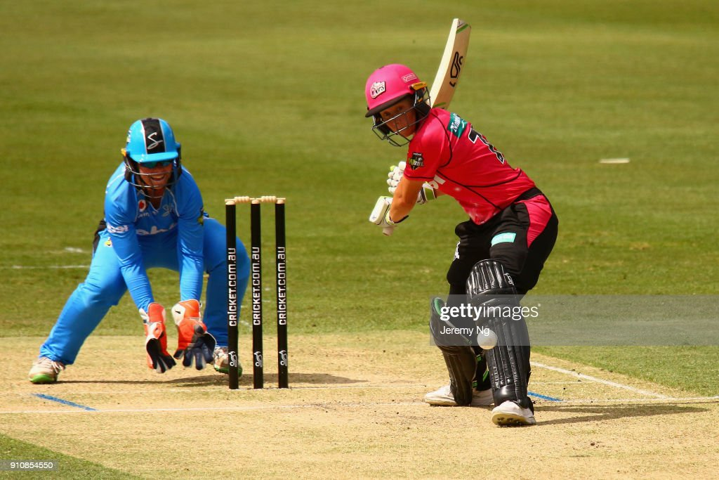 Alyssa Healy of the Sixers plays a shot during the Women's Big Bash League match between the Adelaide Strikers and the Sydney Sixers at Hurstville Oval on January 27, 2018 in Sydney, Australia.