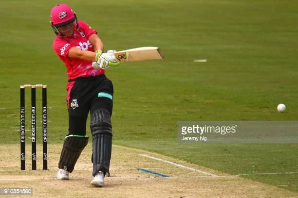 Alyssa Healy of the Sixers plays a shot during the Women's Big Bash League match between the Adelaide Strikers and the Sydney Sixers at Hurstville...