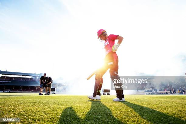 Alyssa Healy of the Sixers walks onto the field to bat during the Women's Big Bash League WBBL match between the Sydney Sixers and the Melbourne...