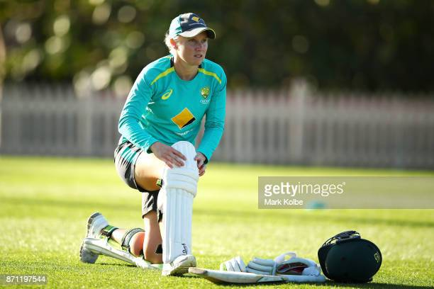 Alyssa Healy pads up to bat during an Australian women's Ashes series training session at North Sydney Oval on November 7 2017 in Sydney Australia