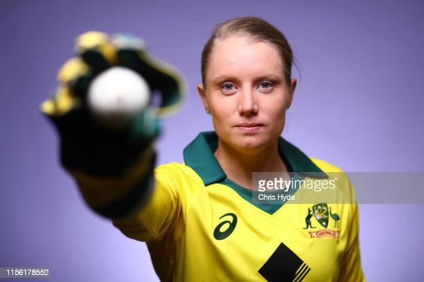 Alyssa Healy poses during an Australian women's national cricket team portrait session at the National Cricket Centre of Excellence on June 15 2019...