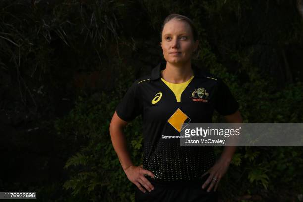 Alyssa Healy poses for a portrait during the Australian Women's One Day International Cricket Squad Announcement at Bradleys Head Amphitheatre on...