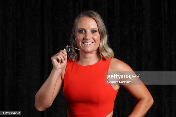 Alyssa Healy poses with the Belinda Clark award during the 2019 Australian Cricket Awards at Crown Palladium on February 11 2019 in Melbourne...