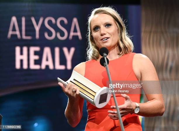 Alyssa Healy speaks on stage after being awarded the Female One Day International Player of the Year during the 2019 Australian Cricket Awards at...