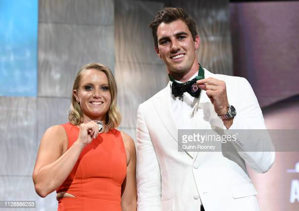 Alyssa Healy winner of the Belinda Clark Award and Put Cummins the winner of the Allan Border Medal pose during the 2019 Australian Cricket Awards at...