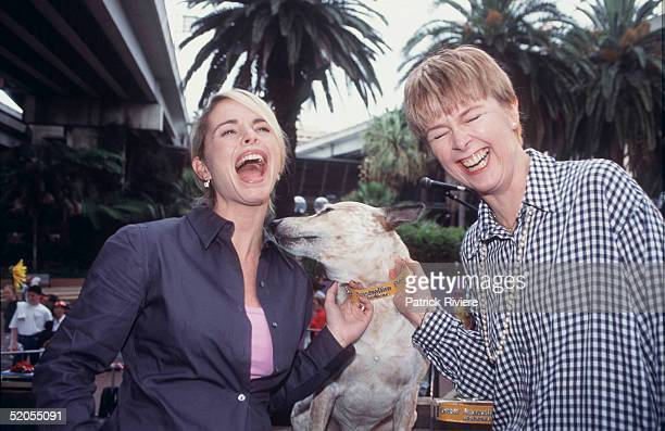 Alyssa Jane Cook and Penny Cook pictured at the Australian Dog of the Year Show at Palm Grove in January 2000 in Darling Harbour Sydney Australia