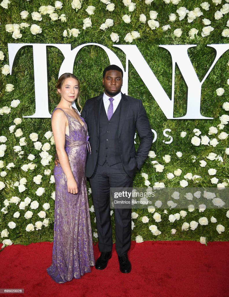 Alyssa Kempinski and Okieriete Onaodowan attend the 2017 Tony Awards at Radio City Music Hall on June 11, 2017 in New York City.