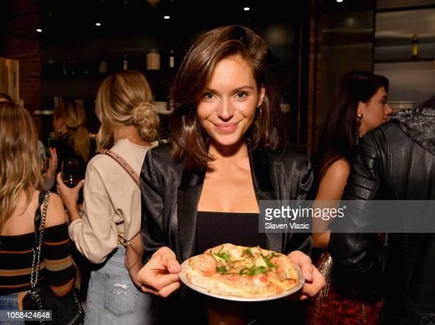 Alyssa Lynch attends the Victoria's Secret Influencer Pizza Making Class at Obica Mozzarella Bar Pizza e Cucina NY Flatiron on November 6 2018 in New...