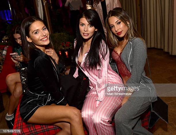 Alyssa Lynch Corin JamieLee and Ayla Marie attend the Victoria's Secret Celebrates The 2018 Victoria's Secret Fashion Show With A PJ Glamp Out In LA...