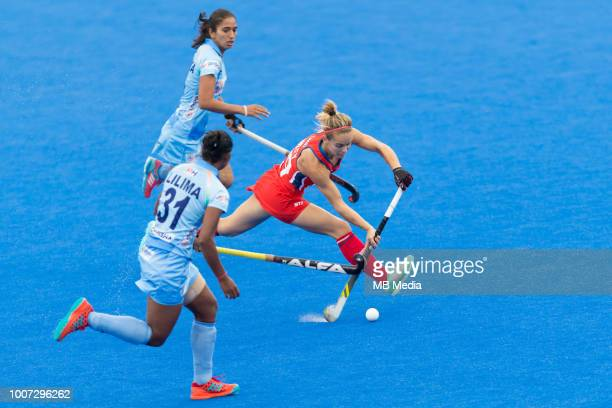 Alyssa Manley of the USA in action during the Pool B game between India and USA of the FIH Womens Hockey World Cup at Lee Valley Hockey and Tennis...