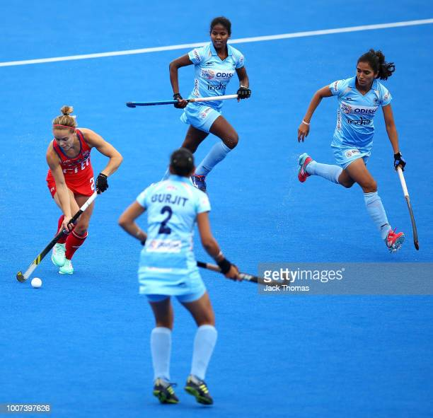 Alyssa Manley of USA during the FIH Womens Hockey World Cup Pool B game between India and the United States at Lee Valley Hockey and Tennis Centre on...
