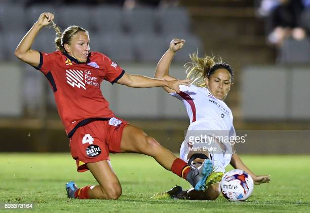Alyssa Mautz of Adelaide United and Lo'eau LaBonta of Western Sydney Wanderers FC during the round eight WLeague match between Adelaide United and...