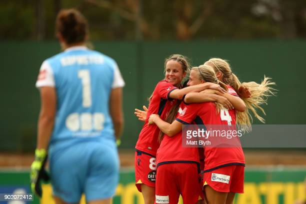 Alyssa Mautz of Adelaide United celebrates scoring a goal during the round 10 WLeague match between Canberra United and Adelaide United at McKellar...