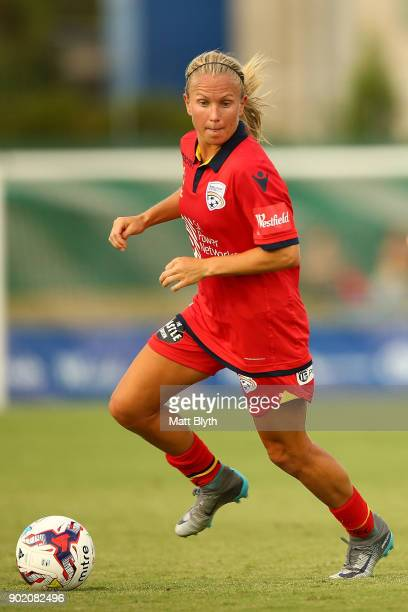 Alyssa Mautz of Adelaide United controls the ball during the round 10 WLeague match between Canberra United and Adelaide United at McKellar Park on...