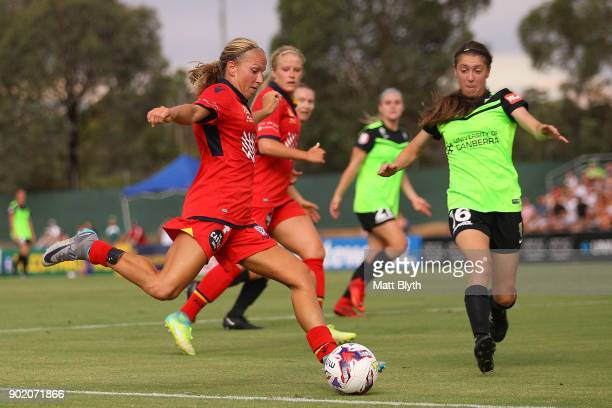 Alyssa Mautz of Adelaide United kicks the ball during the round 10 WLeague match between Canberra United and Adelaide United at McKellar Park on...