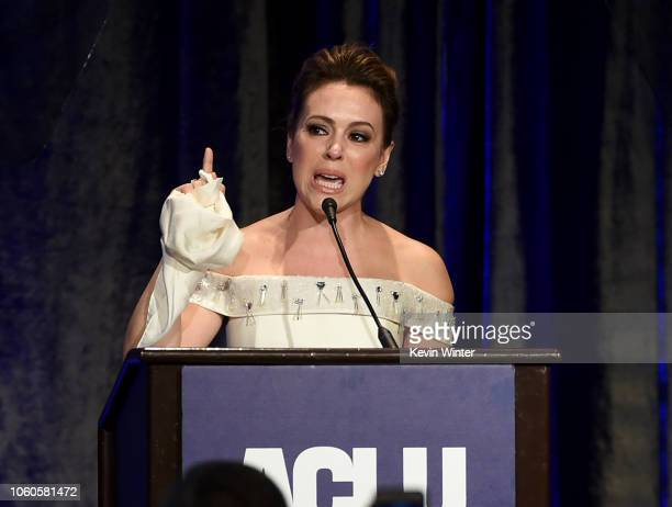 Alyssa Milano accepts the Eason Monroe Courageous Advocate Award at the ACLU's Annual Bill of Rights Dinner at the Beverly Wilshire Hotel on November...