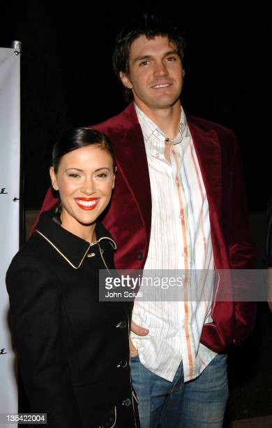 Alyssa Milano and Barry Zito during Esquire House Hosts Young Hollywood Rock The Vote Party Arrivals at The Esquire House Los Angeles in Beverly...