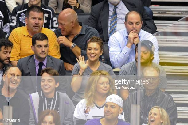 Alyssa Milano and her husband David Bugliari attend game three of the 2012 Stanley Cup Final between the Los Angeles Kings and the New Jersey Devils...