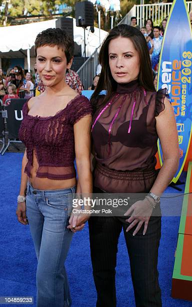 Alyssa Milano and Holly Marie Combs during 2003 Teen Choice Awards Arrivals at Universal AmphiTheater in Universal City California United States