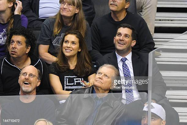 Alyssa Milano and husband David Bugliari attend the Los Angeles Kings vs Phoenix Coyotes playoff hockey game at Staples Center on May 17 2012 in Los...