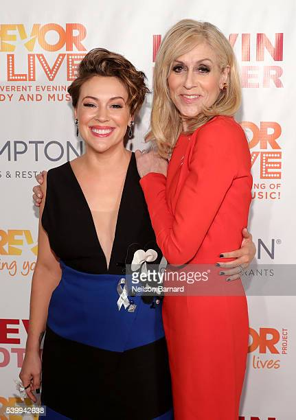 Alyssa Milano and Judith Light attend The Trevor Project's TrevorLIVE New York on June 13 2016 in New York City