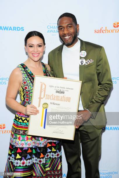 Alyssa Milano and Jumaane Williams attend Safe Horizon's Champion Awards at The Ziegfeld Ballroom on April 9 2019 in New York City