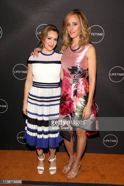 Alyssa Milano and Kim Raver attend Lifetime's Female Directors and Leading Actresses 2019 Winter Television Critics Association Press Tour at The...