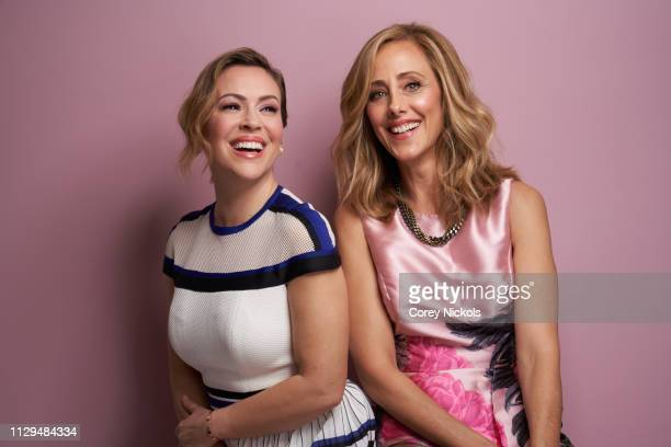 Alyssa Milano and Kim Raver of Lifetime's 'Female Directors Panel' pose for a portrait during the 2019 Winter TCA at The Langham Huntington Pasadena...