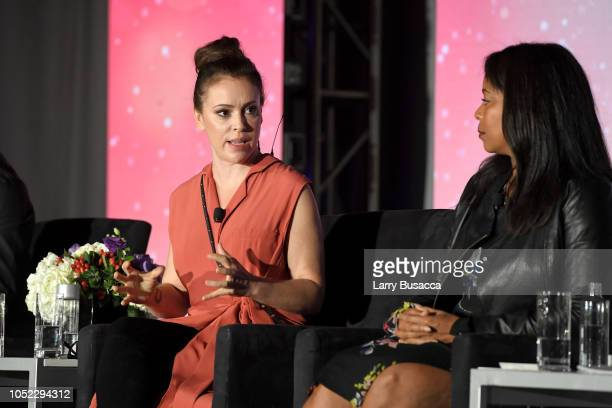 Alyssa Milano and Michelle Rice speak onstage during the WICT Leadership Conference at New York Marriott Marquis Hotel on October 16 2018 in New York...