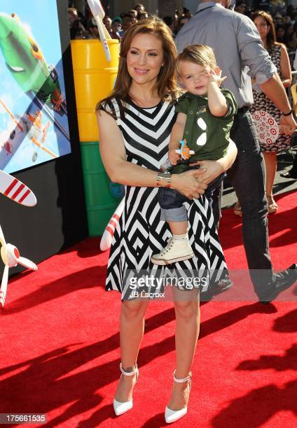 "Alyssa Milano and Milo Thomas Bugliari attend the Disney's ""Planes"" Los Angeles premiere held at the El Capitan Theatre on August 5, 2013 in..."