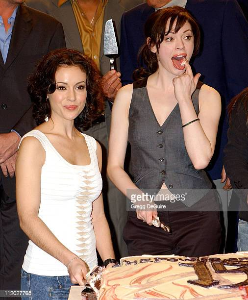 """Alyssa Milano and Rose McGowan during """"Charmed"""" Celebrates 150 Episodes and First Season on DVD at Paramount Studios in Los Angeles, California,..."""