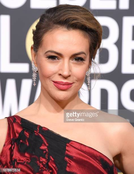 Alyssa Milano arrives at the 76th Annual Golden Globe Awardsat The Beverly Hilton Hotel on January 6 2019 in Beverly Hills California