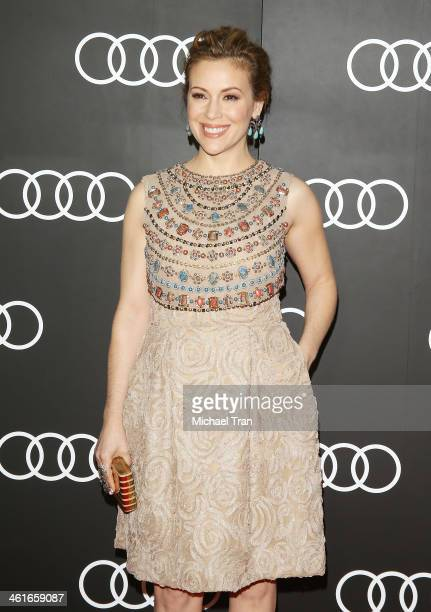 Alyssa Milano arrives at the Audi Golden Globe 2014 kick off cocktail party held at Cecconi's Restaurant on January 9, 2014 in Los Angeles,...