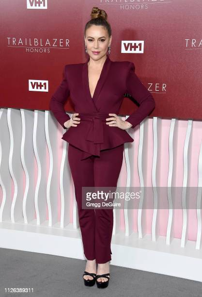 Alyssa Milano arrives at VH1 Trailblazer Honors at The Wilshire Ebell Theatre on February 20 2019 in Los Angeles California