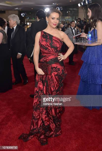 Alyssa Milano attends FIJI Water at the 76th Annual Golden Globe Awards on January 6 2019 at the Beverly Hilton in Los Angeles California