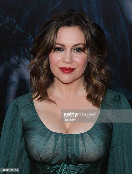 Alyssa Milano attends Into The Woods World Premiere Outside Arrivals at Ziegfeld Theater on December 8 2014 in New York City