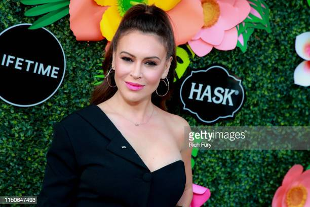 Alyssa Milano attends Lifetime's Summer Luau at W Los Angeles Westwood on May 20 2019 in Los Angeles California