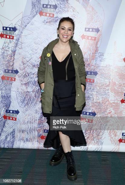 Alyssa Milano attends Politicon 2018 at Los Angeles Convention Center on October 21 2018 in Los Angeles California
