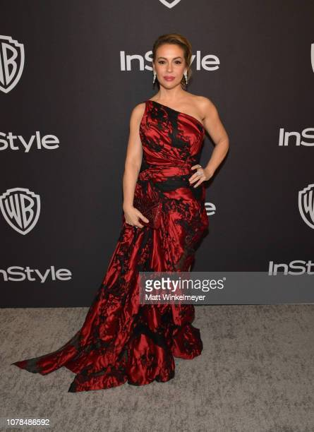 Alyssa Milano attends the 2019 InStyle and Warner Bros 76th Annual Golden Globe Awards PostParty at The Beverly Hilton Hotel on January 6 2019 in...