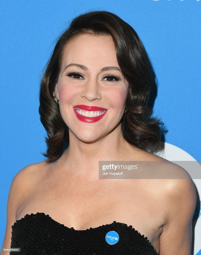 Alyssa Milano attends the 7th Biennial UNICEF Ball at the Beverly Wilshire Four Seasons Hotel on April 14, 2018 in Beverly Hills, California.