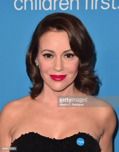 Alyssa Milano attends the 7th Biennial UNICEF Ball at the Beverly Wilshire Four Seasons Hotel on April 14 2018 in Beverly Hills California