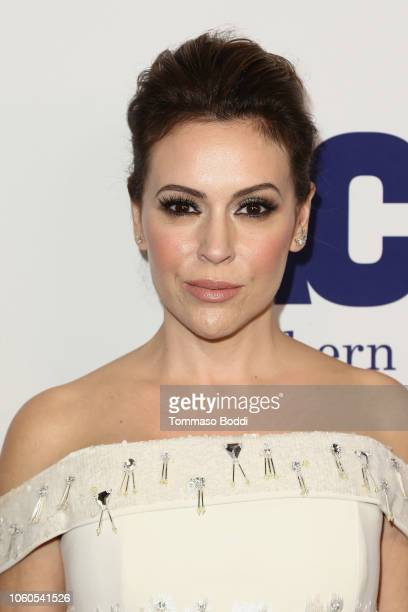 Alyssa Milano attends the ACLU's Annual Bill Of Rights Dinner at the Beverly Wilshire Four Seasons Hotel on November 11 2018 in Beverly Hills...