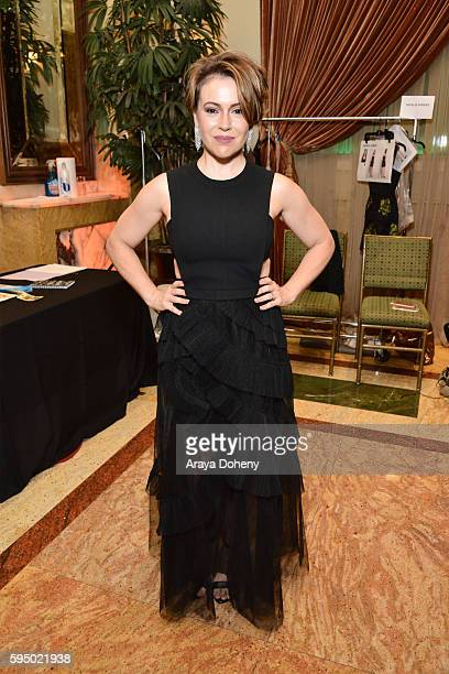 Alyssa Milano attends the Inaugural Fashion Show Benefiting MakeAWish with BCBGMAXAZRIA and Celebrity Host Brad Goreski at The Taglyan Complex on...