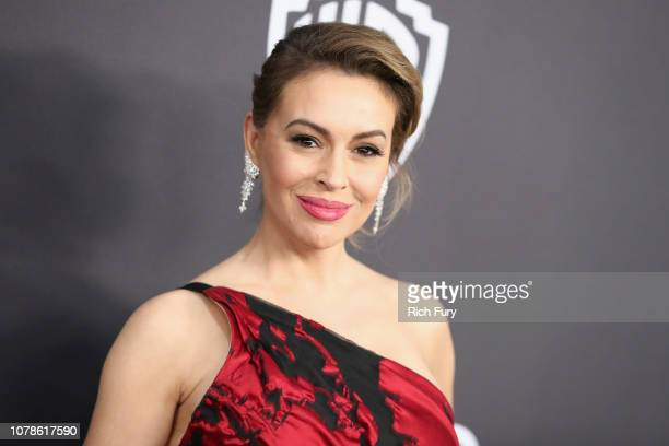 Alyssa Milano attends the InStyle And Warner Bros. Golden Globes After Party 2019 at The Beverly Hilton Hotel on January 6, 2019 in Beverly Hills,...