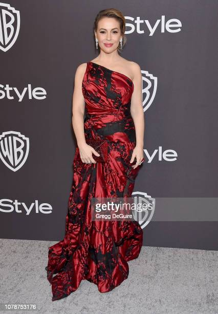 Alyssa Milano attends the InStyle And Warner Bros Golden Globes After Party 2019 at The Beverly Hilton Hotel on January 6 2019 in Beverly Hills...