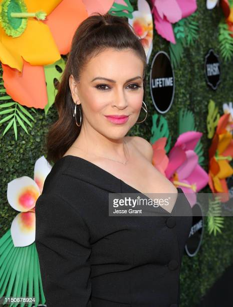 Alyssa Milano attends the Lifetime Summer Luau on May 20 2019 in Los Angeles California