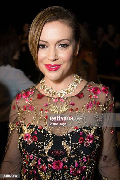 Alyssa Milano attends the Marchesa show during September 2016 New York Fashion Week at The Dock, Skylight at Moynihan Station on September 14, 2016...