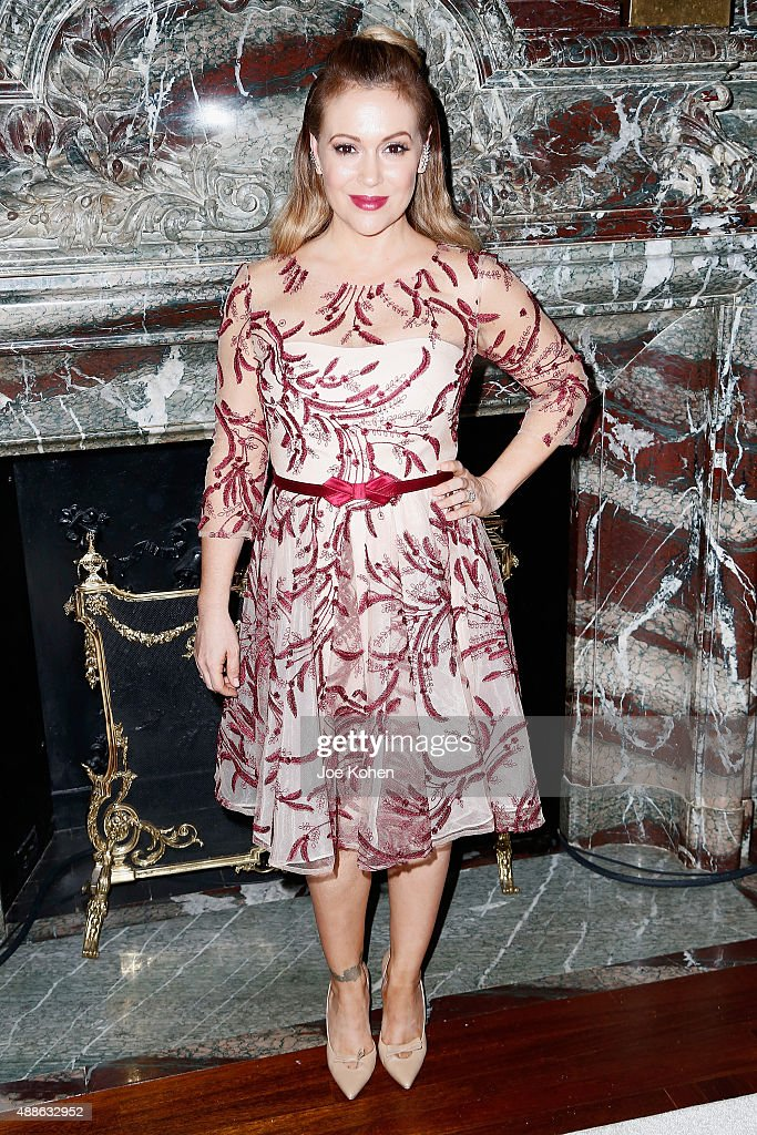 Alyssa Milano attends the Marchesa Spring 2016 fashion show during New York Fashion Week at St. Regis Hotel on September 16, 2015 in New York City.